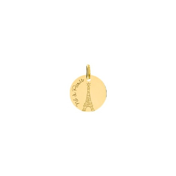 Médaille né à Paris et tour Eiffel Or 18 carats jaune - La Petite Française