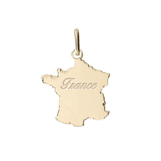 Pendentif carte de France Or 18 carats jaune - France gravée - La Petite Française