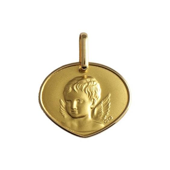 Médaille triangulaire ange Or 18 carats jaune - La Petite Française