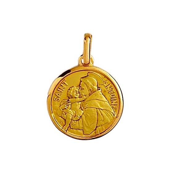Médaille Saint Antoine - 18 mm - Or 18 carats jaune - La Petite Française