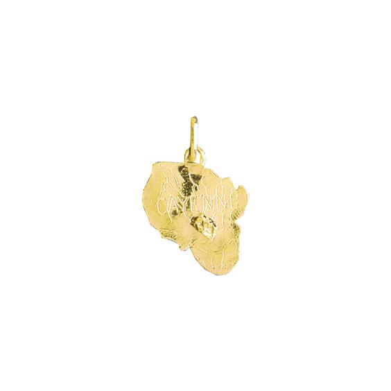 Pendentif carte Cayenne Or 18 carats jaune - 23 MM - La Petite Française