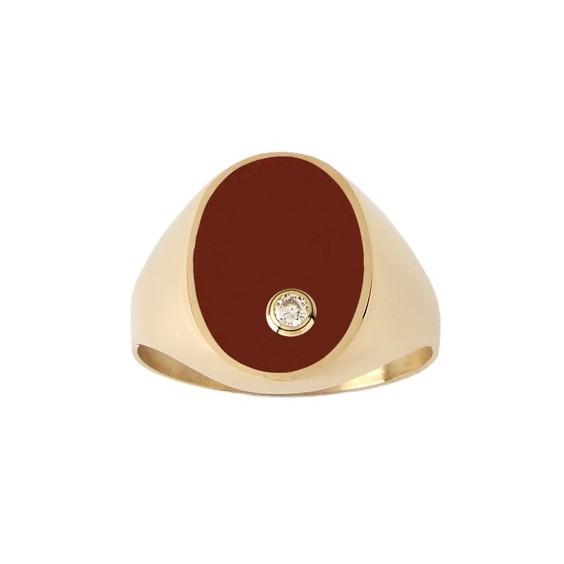 Chevalière cornaline, diamant Or 18 carats jaune - La Petite Française