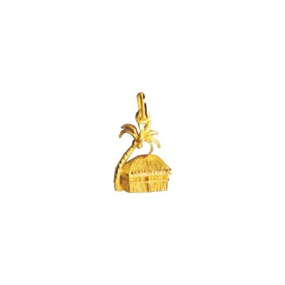 Pendentif case rectangulaire et cocotier Or 18 carats jaune - La Petite Française