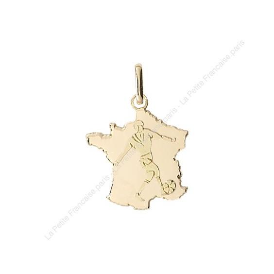 Pendentif carte de France avec footballeur Or 18 carats jaune - La Petite Française