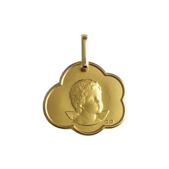 Médaille ange nuage Or 18 carats jaune - La Petite Française