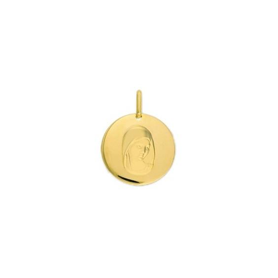 Médaille Sainte-Vierge - 17 mm - Or 18 carats jaune - La Petite Française