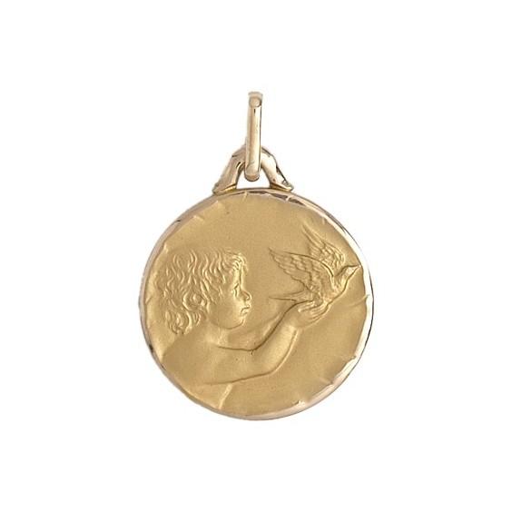 Médaille enfant à la colombe - 18 mm - Or 18 carats jaune - La Petite Française