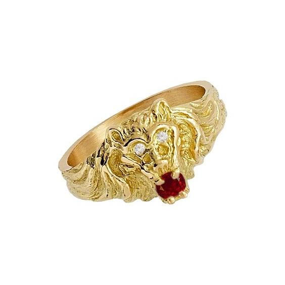 Chevalière lion rubis Or 18 carats jaune - La Petite Française
