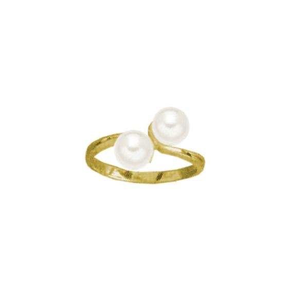 Bague toi et moi perles Or 18 carats jaune - La Petite Française