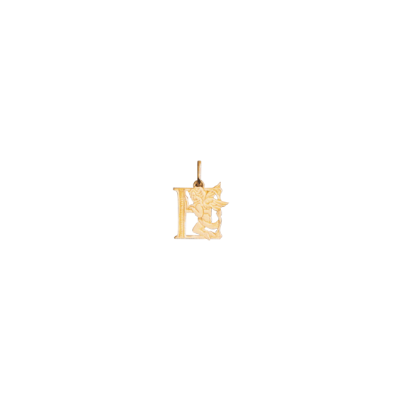 Pendentif ange lettre E Or 18 carats jaune - La Petite Française