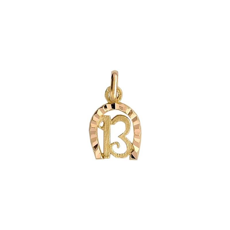 Pendentif fer à cheval et 13 Or 18 carats jaune - La Petite Française
