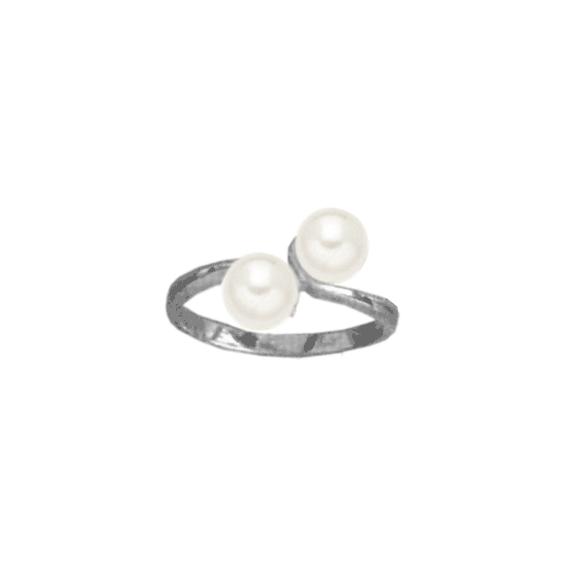 Bague toi et moi perles Or 18 carats gris - La Petite Française