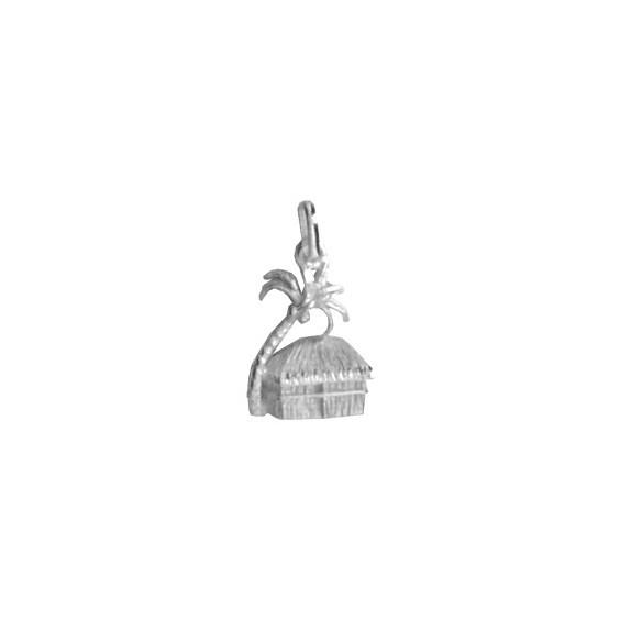Pendentif case rectangulaire et cocotier Or 18 carats gris - La Petite Française