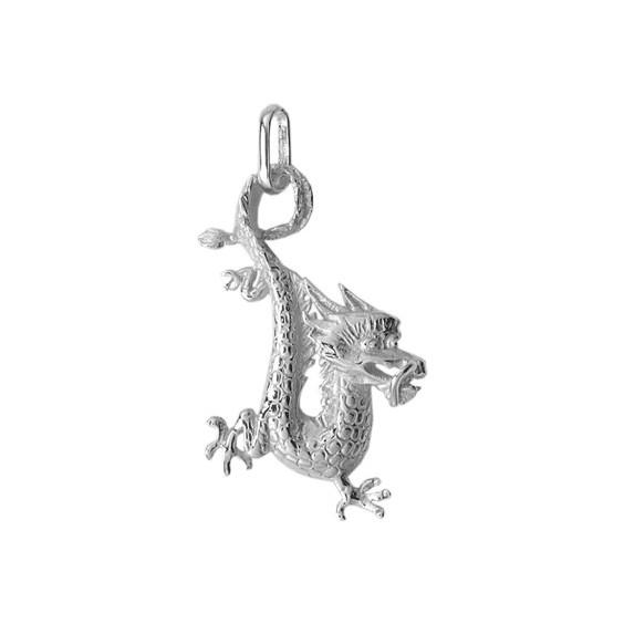 Pendentif dragon en Or 18 carats gris - La Petite Française