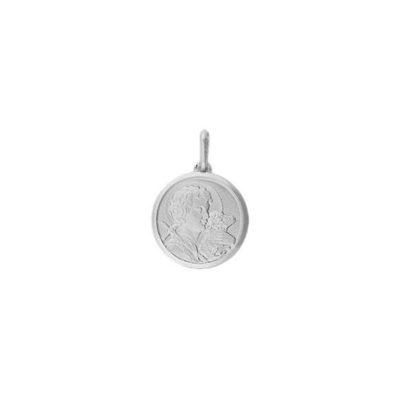 Médaille Saint Jean-Baptiste - 20 mm - Or 18 carats gris - La Petite Française