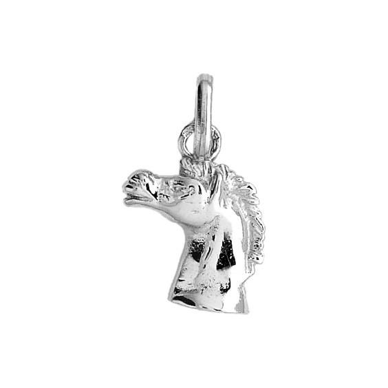 Pendentif tête de cheval hennissant Or 18 carats gris - La Petite Française
