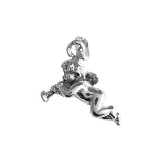 Pendentif ange avec trompette Or 18 carats gris - La Petite Française