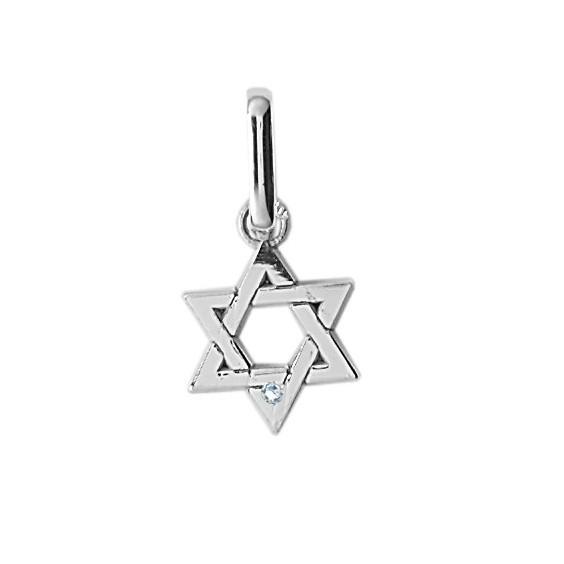 Pendentif Etoile de David diamant  PM Or 18 carats gris - La Petite Française