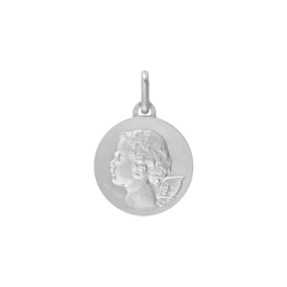 Médaille ange - 16 mm - Or 18 carats gris - La Petite Française