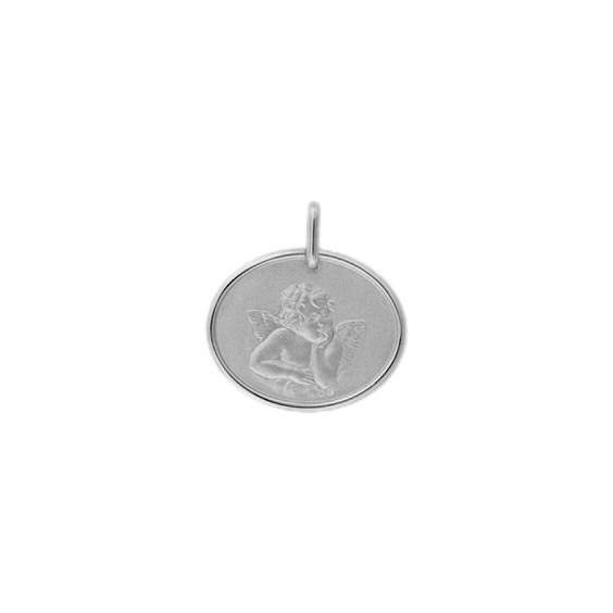 Médaille ange de Raphaël Or 18 carats gris - La Petite Française