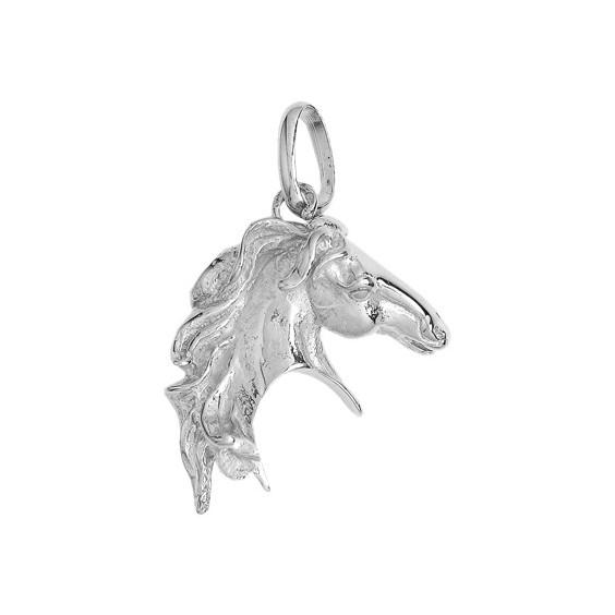Pendentif tête de cheval Or 18 carats gris 35 MM - La Petite Française