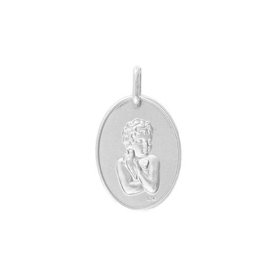 Médaille enfant à la colombe Or 18 carats gris - La Petite Française