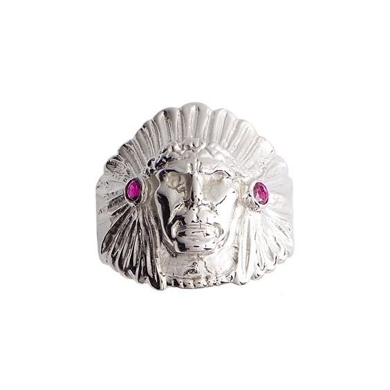 Chevalière chef Amérindien rubis Or 18 carats gris - La Petite Française