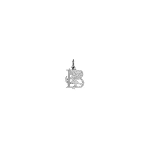 Pendentif ange lettre B Or 18 carats gris - La Petite Française