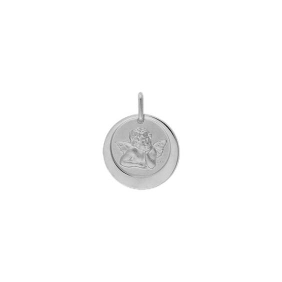 Médaille ange de Raphaël - 17 mm - Or 18 carats gris - La Petite Française
