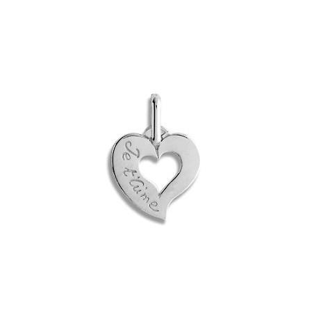 Pendentif coeur je t'aime Or 18 carats gris - La Petite Française