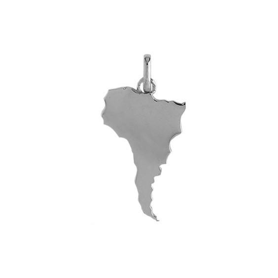 Pendentif carte Amérique Latine Or 18 carats gris - La Petite Française