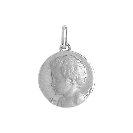 Médaille enfant - 18 mm - Or 18 carats gris - La Petite Française
