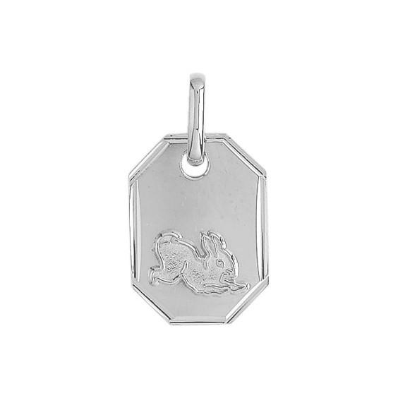 Médaille lapin rectangle Or 18 carats gris - La Petite Française