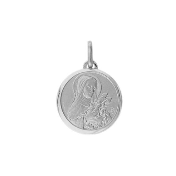 Médaille Sainte Thérèse - 16 mm - Or 18 carats gris - La Petite Française