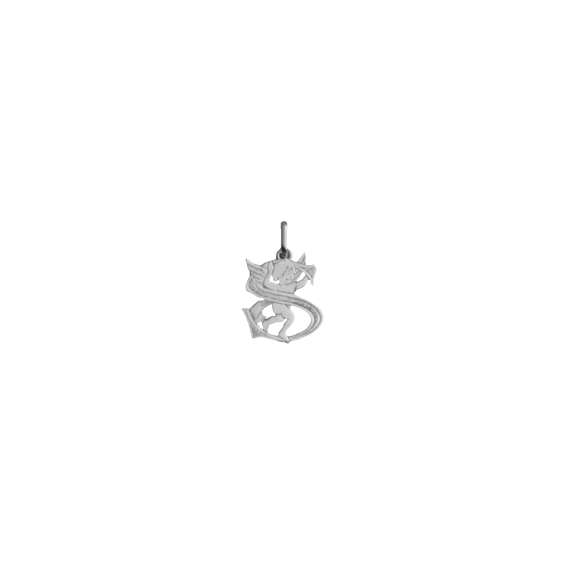 Pendentif ange lettre S Or 18 carats gris - La Petite Française