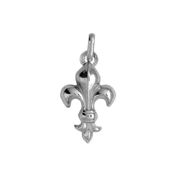Pendentif Fleur de Lys Or 18 carats gris - 21 X 11 MM - La Petite Française