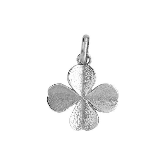Pendentif trèfle Or 18 carats gris - La Petite Française