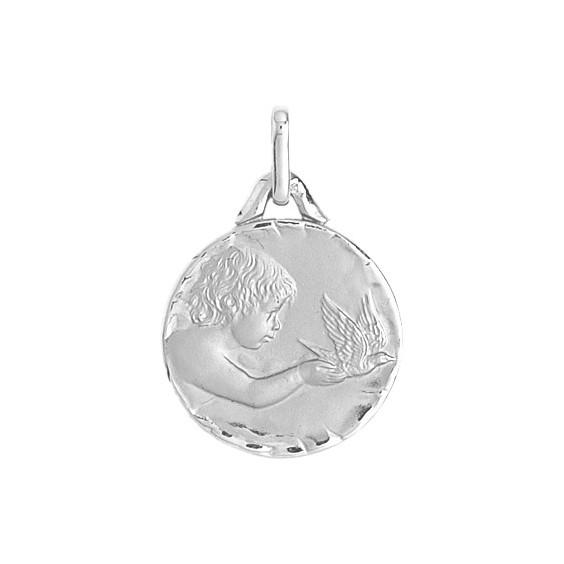 Médaille enfant à la colombe - 16 mm - Or 9 carats gris - La Petite Française