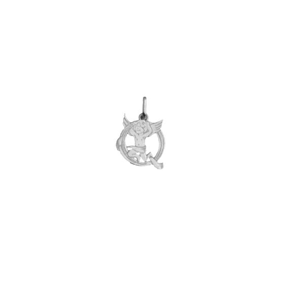 Pendentif ange lettre Q Or 9 carats gris - La Petite Française