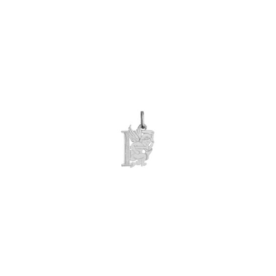 Pendentif ange lettre F Or 9 carats gris - La Petite Française