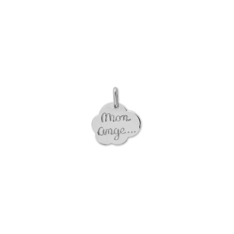 """Médaille nuage """" mon ange"""" Or 9 carats gris - La Petite Française"""