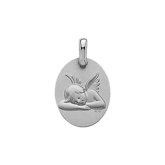 Médaille ovale ange endormi Or 9 carats gris - La Petite Française