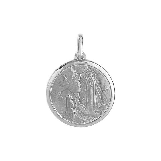 Médaille Sainte Bernadette - 15 mm - Or 9 carats gris - La Petite Française