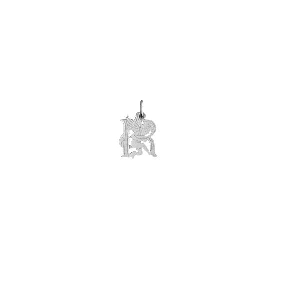 Pendentif ange lettre R Or 9 carats gris - La Petite Française