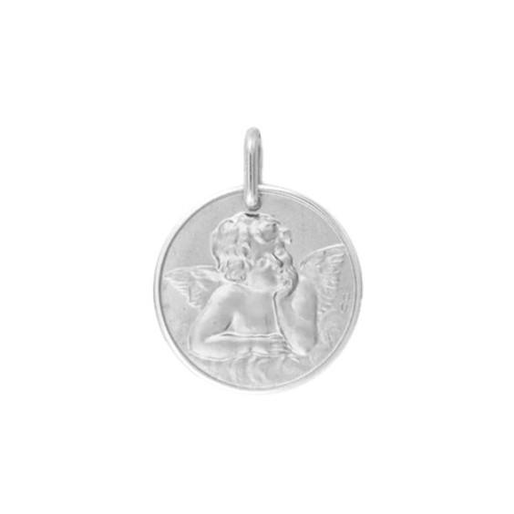 Médaille ange de Raphaël - 17 mm - Or 9 carats gris - La Petite Française