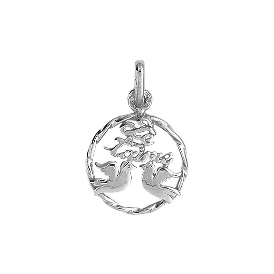 Pendentif je t'aime 2 colombes Or 9 carats gris