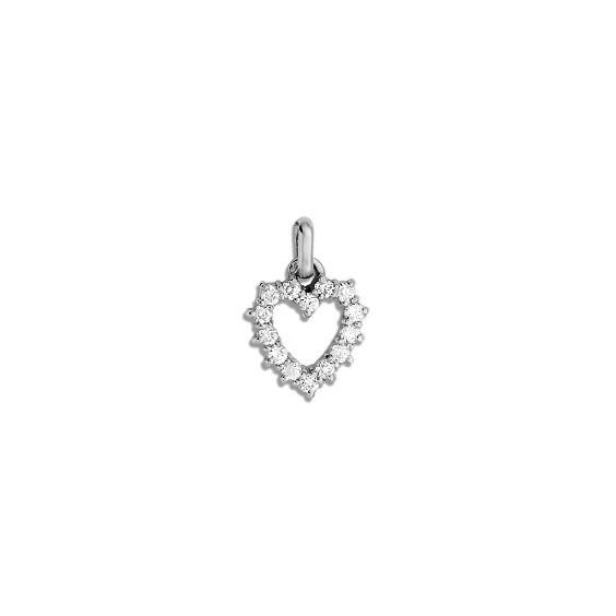 Pendentif coeur d'oxydes Or 9 carats gris - La Petite Française