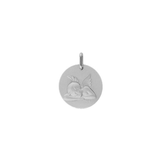 Médaille ange endormi - 17 mm -  Or 9 carats gris - La Petite Française