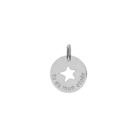 Pendentif tu es mon étoile Or 9 carats gris - La Petite Française