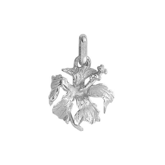 Pendentif hibiscus Or 9 carats gris - La Petite Française